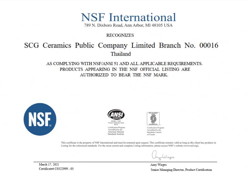 NSF-ANSI 51 CERTIFICATION